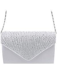 Wei/ß MagiDeal Damen Handtasche Abendtasche Clutch Satin Abend Party Brauttasche Diamante Kupplung Shouler Beutel Der Braut Prom Handtasche Schwarz