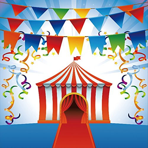 YongFoto 2x2m Circus Hintergrund Cartoon Zoo Hintergründe für die Fotografie Banner Schleife rot Teppich Vinyl Foto Hintergrund Jungen Mädchen Happy Birthday Studio Requisiten