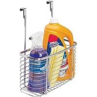 mDesign Organizador de cocina sin taladro – Estante colgante para guardar papel de aluminio, bolsas de congelación o detergentes – Cesta de metal para accesorios de cocina – Color plateado