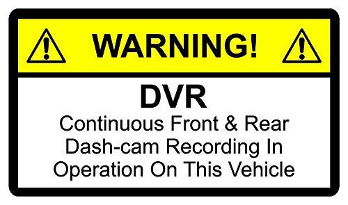Autocollant d'avertissement de surveillance DVR d'enregistrement continu dash-cam avant et arrière en Fonctionnement Taxi 150mm x 100mm