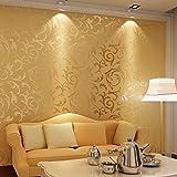Vliestapete 3D Optik Vlies Wand Tapete Rolle Wandtapete Barock Deko 2 Farbwahl (Golden)