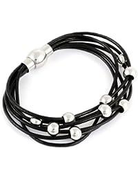 Morella Damen Armband Leder mit Beads Edelstahl // verschiedene Farben wählbar