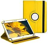 Vision-Tech Premium Universal-Hülle für Tablet-PC Odys Falcon 10 Plus 3G 10 ZOLL mit DREHFUNKTION und HALTER/STÄNDER-FUNKTION Schutz-Case Flip-Tasche Cover Gelb
