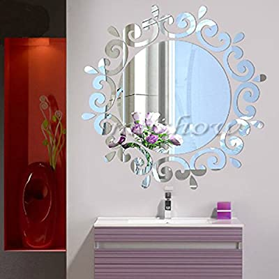Mirror Wall Art Flying Fairy Tinker Bell with Stars Round Wall Stickers Removable Self-Adhesive Mural Decals Vinyl Home Decoration DIY Washroom Décor