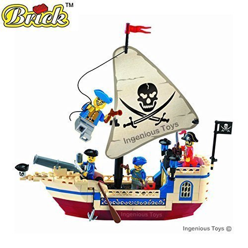 Pirate Ship with 4 Mini-figures - High quality and great value 188pcs (304) by Ingenious Toys - Enlighten Brick