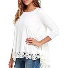 Sky Mujeres de Encaje de Manga Larga Camisa Blanca Casual Blusa Suelta Algodón Tops Camiseta