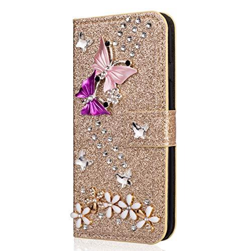 Miagon Hülle Glitzer für iPhone 8/7,Luxus Diamant Strass Schmetterling Blume PU Leder Handyhülle Ständer Funktion Schutzhülle Brieftasche Cover,Gold