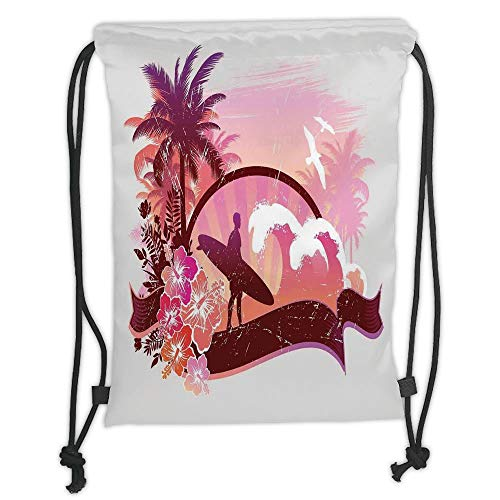 GONIESA Drawstring Sack Backpacks Bags,Surf,Surfer on Tropical Beach Standing by The Ocean Challenging The Waves Digital Graphic,Purple Pink Soft Satin,5 Liter Capacity,Adjustable String Closur -
