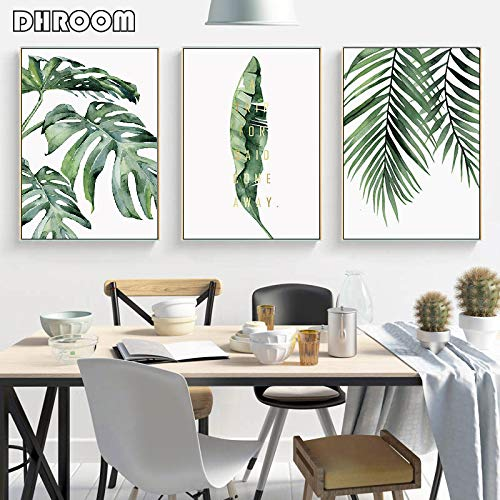 sxh28185171 Aquarell Blätter Wandbild Leinwand Gemälde Grün Stil Pflanze Nordische Plakate und...