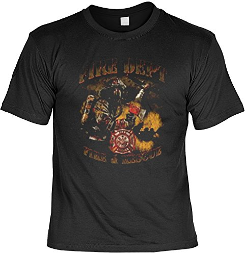 Firefighter-Biker Shirt /T-Shirt/Baumwoll-Shirt lässiger Feuerwehr-Aufdruck: Fire Dept. - cooles Motiv Schwarz