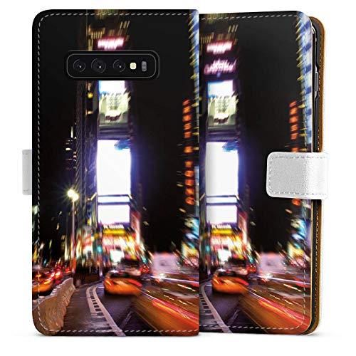 DeinDesign Tasche kompatibel mit Samsung Galaxy S10 Plus Leder Flip Case Ledertasche Times Square Broadway New York City -