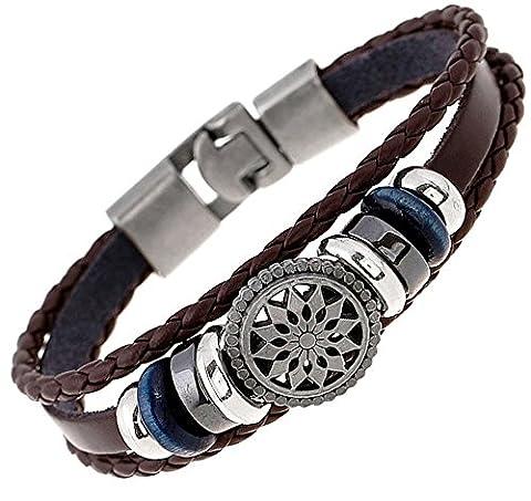 Bracelet style tibétain tibet bouclier cuir breloques en bois metal soleil fait main anniversaire 20cm