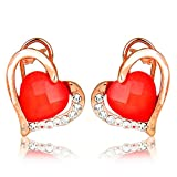 Moedbuille Heart Design Red Stud Earring...