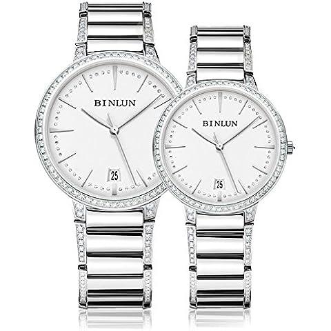 binlun Best Argento Meccanico Automatico diamanti decorato impermeabile orologio da polso con calendario per maschio e femmina - Womens Diamante Orologio Automatico