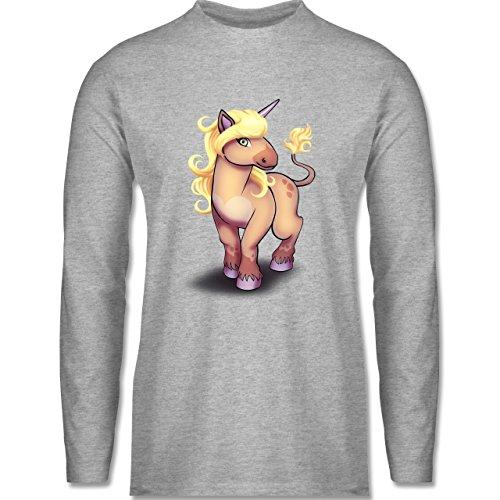 Sonstige Tiere - Einhorn Pony - Longsleeve / langärmeliges T-Shirt für Herren Grau Meliert