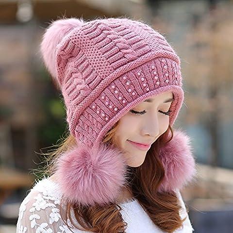 qwer Tappi di inverno bambini coniglio capelli di lana spessi