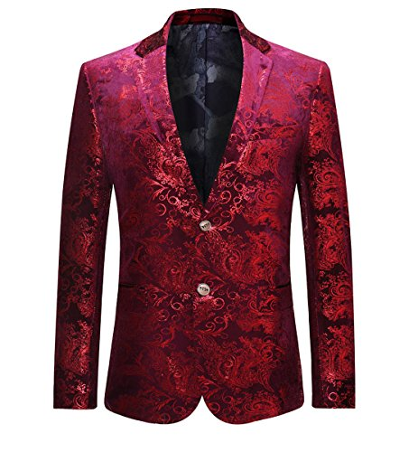 Allthemen Abito da Uomo Casual in Velluto di Lusso da Uomo Slim Fit Floral Prints Stylish Blazer Coats Chic Jackets