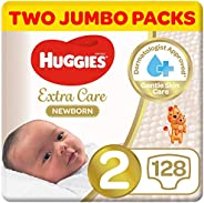 Huggies Newborn, Size 2, 4-6 kg, Two Jumbo Packs, 128 Diapers