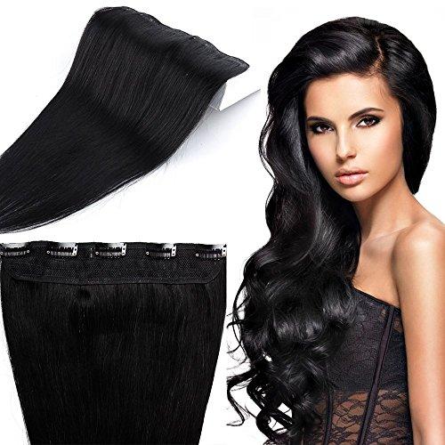 40-60cm extension clip capelli veri neri fascia unica larga 25cm - 60cm/60g 100% remy human hair capelli naturali lisci umani con 5 clip #1 jet nero
