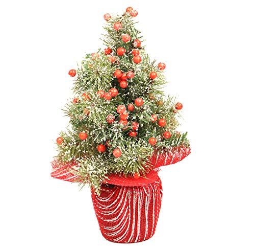 Xfjryp Weihnachtsbaum Mini Simulation Thin Schnee Rot Obst Grünpflanze Weihnachten Kahler Baum Topfdekoration Weihnachten Zimmer Desktop-Props Dekoration (Size : 35cm)