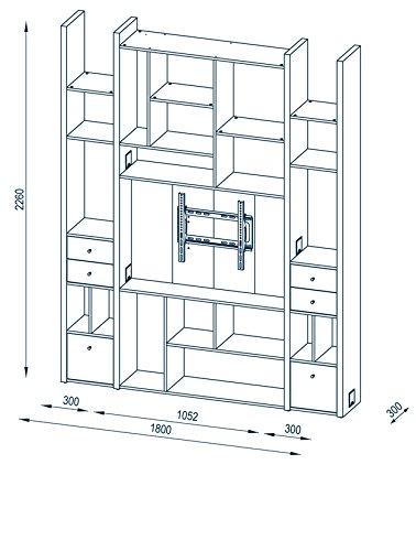 MAJA Raumteiler Wandregal Cableboard 6032 in Edelbuche 180x226x30cm Bücherregal Wohnwand / Modell 2016 - 2