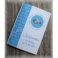 Einladung Einladungskarte Kommunion Konfirmation Taufe Fisch silber blau türkisblau