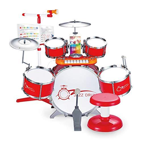 HUANGFU Drum Set Tamburo Jazz per Bambini con Piano elettronico Batteria per Principianti Serie di Simulazione Batteria soffiare Strumento Musicale Gioco Puzzle (Color : Red)