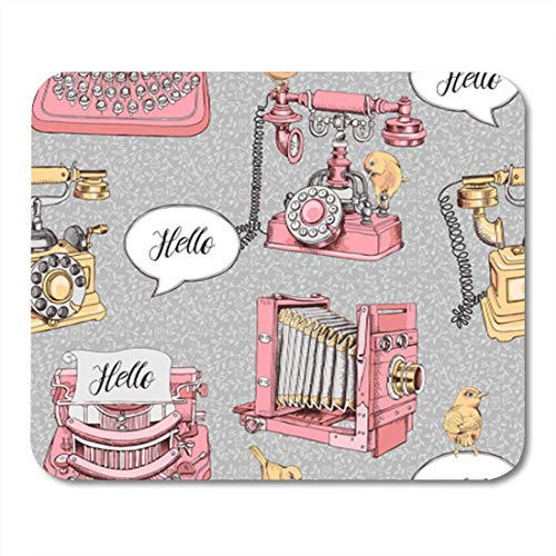 AOCCK Gaming Mauspads, Gaming Mouse Pad Antique of Vintage Telephone Camera Typewriter and Birds 11.8