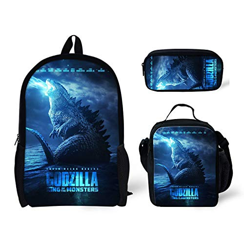 Polero Rucksack Unisex Teens High School und College, Bookbags + Lunch Bag + Federmäppchen, 3 Beutel in 1 Laser Godzilla Printed -