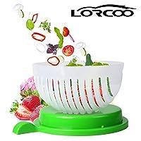 Lorcoo Cortador de verduras Tazones, Centrifugadora para ensalada, 60 segundos Ensalada Maker
