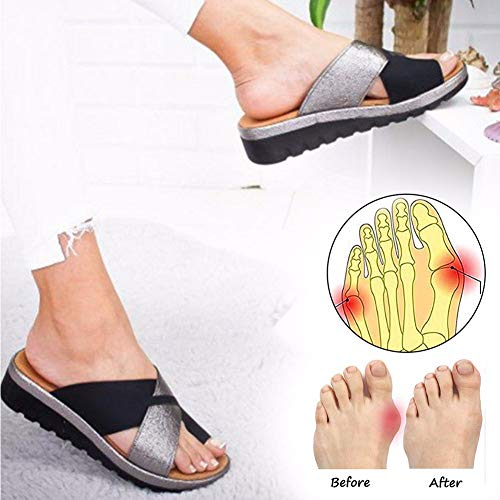 2019 New Women Sandal Shoes Comfy Platform Sandal Shoes Elegant Peep Toe Keilabsatz PU Leder Mit Big Toe Hallux Valgus Correct Lindert effektiv Schmerzen in Ballen Platform Sandal