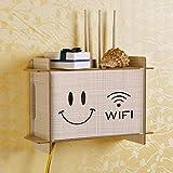 HX home Router Aufbewahrungsbox Wandbehang Rack Holz Retro-Smiley vierblättriges Kleeblatt Dekorative Katze Aufbewahrungsbox 19.5cmx29cmx10cm, Stoffmuster - Lachen
