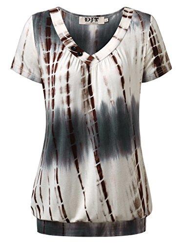 DJT Femme T-shirt Hauts ete Manches courtes Col V a boutons Ourlet serre Beige-Gris