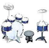 Neu 27 stück Blau Rock Trommel-set Kinder Kinder Jungen Becken Musik Schlagzeug Spielset Hocker Spielzeug-set Weihnachtsgeschenk