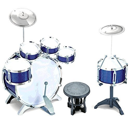 new-27-piece-blue-rock-drum-kit-childrens-kids-boys-cymbal-music-percussion-playset-stool-toy-set-xm