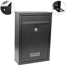 Buzón metálico para cartas y correo postal de color negro 215 x 82 x 315 mm de PrimeMatik
