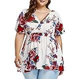 TWBB ❤ Frauen Oberteile, SommerElastische Taille Casual irregulär Bluse, lose V-Ausschnitt Kurzarm T-Shirt (L2, Mehrfarbig)