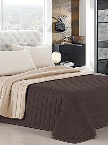 Italian bed linen elegant trapuntino matrimoniale 2 posti, marrone/panna, 260 x 270 cm