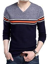 Suéter De Jersey De Punto De Moda para Niño Tamaños Cómodos Suéter De Manga  Larga De Cuello En V con Rayas Gruesas Hombres De… 3cd626096fbd