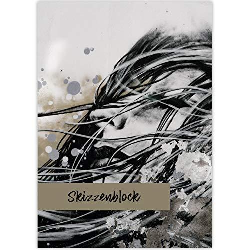 """1 Streetart DIN A3 Malblock Motiv""""Dream on"""", grau • Zeichenblock Skizzen-Block 25 Blatt weiß, kopfverleimt, holzfreies Qualitäts-Papier 100g/m²: Skizzenblock - für Schule, Basteln, Hobby"""