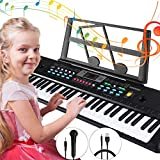 Magicfun Digital Piano Keyboard, 61Key Kids Piano Keyboard with Music Stand Microphone Power Supply Educational Toy for Girls Boys