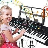 Magicfun Digital Piano Keyboard, 61-Key Kids Piano Keyboard with Music Stand Microphone Power