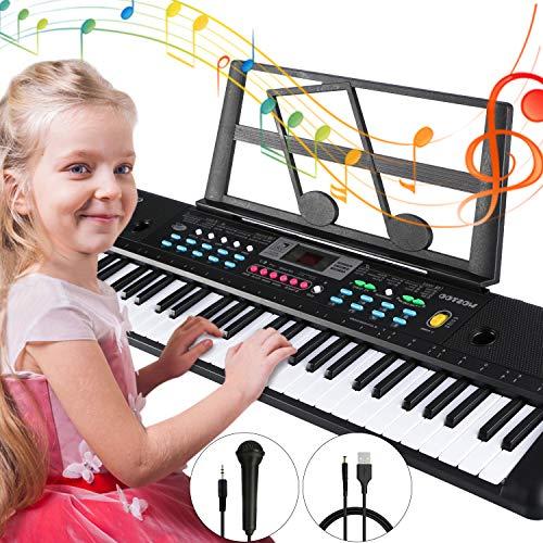 Pianos Numériques Portables, Magicfun 61 Touches Clavier électronique de Piano Chargable Clavier Piano avec Microphone pour Enfants Garçon Filles Cadeau