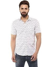 Mufti Button Down Printed White Half Sleeves Shirt