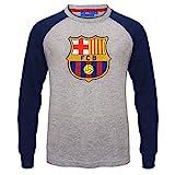 FC Barcelona - Kinder Langarmshirt mit Raglanärmeln & Vereinswappen - Offizielles Merchandise - Geschenk für Fußballfans - Grau - 12-13 Jahre