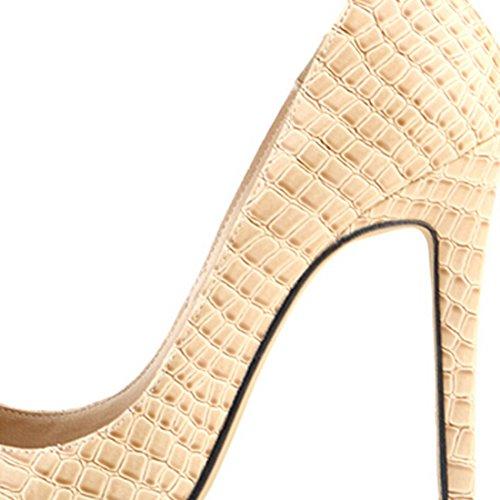 Oasap Femme Chic Chaussure A Talons Hauts Crocodile Pointu Talons Aiguilles Rouge