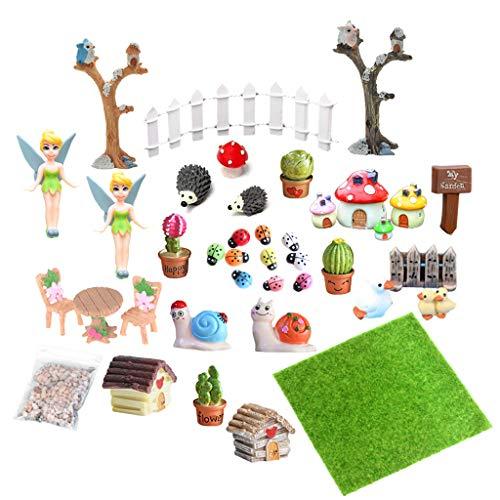 EQLEF Miniatur Deko Garten, Mini Fee Garten Zubehör Miniatur Ornamente für DIY Dollhouse Landschaft Decor 39 Pcs