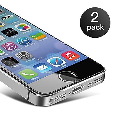 iPhone SE Schutzfolie[2 Pack], Coolreall Panzerglas für iPhone 5 5C 5S 5SE [9H Härtegrad, 99% Transparenz]