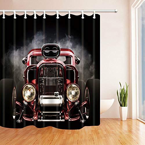 gwregdfbcv Dampfmaschine altes Auto Dekoration duschvorhang Durable Fabric Mehltau Bad-Accessoires Kreative mit 12 Haken 180X180CM
