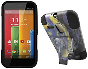 Maxtron Rugged Hybrid Hard T-Stand Dual Armor Case with Screen Proctor for Motorola Moto G XT1032 - Retail Packaging - Midnight
